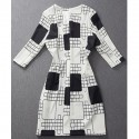 Vintage Jewel Neck Half Sleeves Color Block Plaid Dress For Women