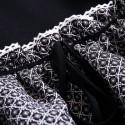Vintage Jewel Neck Half Sleeves Color Splicing Drawstring Dress For Women