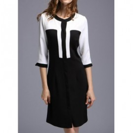 Vintage Jewel Neck Half Sleeves Color Splicing Dress For Women