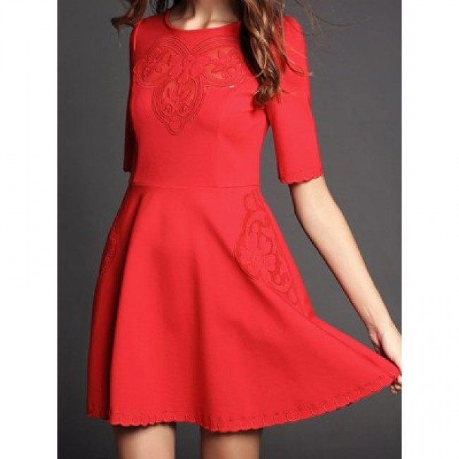 Vintage Jewel Neck Half Sleeves Embroidered Solid Color Dress For Women