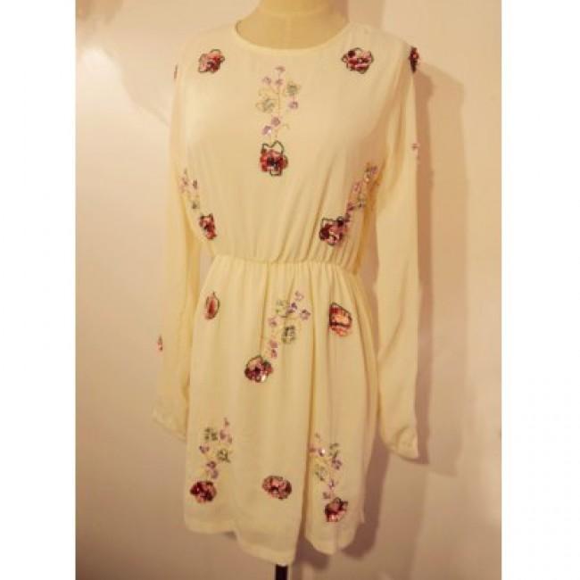 Vintage Jewel Neck Long Sleeves Beading Dress For Women