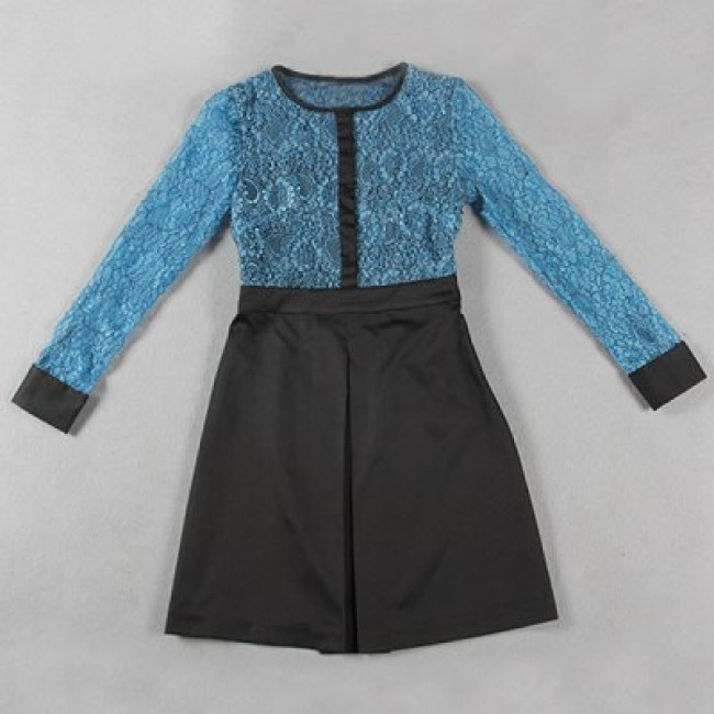 Vintage Jewel Neck Long Sleeves Lace Splicing A-Line Dress For Women