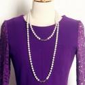 Vintage Jewel Neck Long Sleeves Lace Splicing Woolen Dress For Women