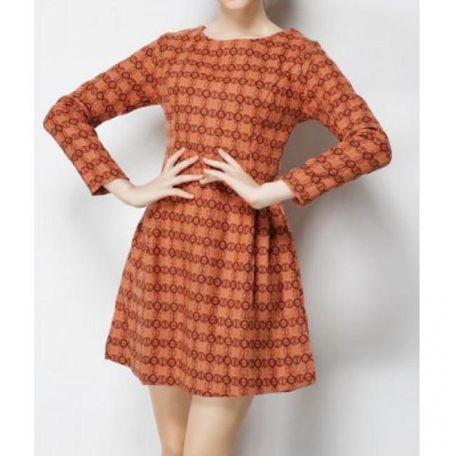 Vintage Jewel Neck Print Long Sleeves Dress For Women