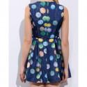 Vintage Jewel Neck Print Sleeveless Dress For Women