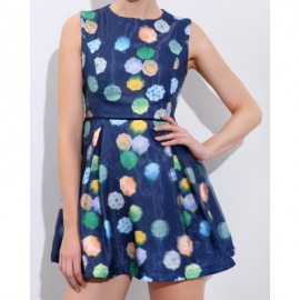 Vintage Jewel Neck Print Sleeveless Dress For Women