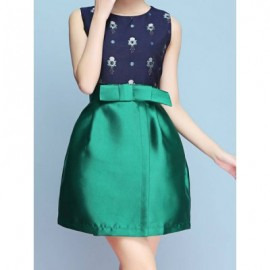 Vintage Jewel Neck Sleeveless Print Bowknot Dress For Women