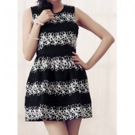 Vintage Jewel Neck Sleeveless Print Dress For Women