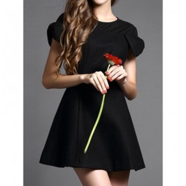 Vintage Jewel Neck Solid Color Short Sleeves Volie Splicing Dress For Women