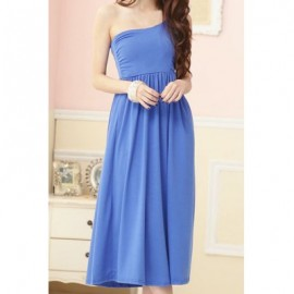 Vintage One-Shoulder Solid Color Pleated Prom Dress For Women