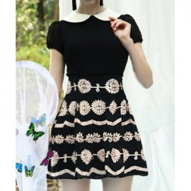 Vintage Peter Pam Collar Short Sleeves Handmade Floral Dress For Women