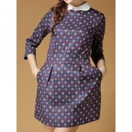 Vintage Peter Pan Collar 3/4 Sleeves Print Dress For Women
