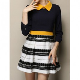 Vintage Peter Pan Collar 3/4 Sleeves Striped Splicing Color Block Dress For Women