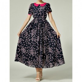 Vintage Peter Pan Collar Floral Print Short Sleeve Maxi Dress For Women