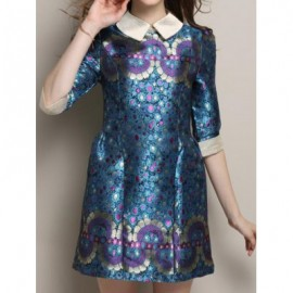 Vintage Peter Pan Collar Half Sleeve Printed Women's Dress
