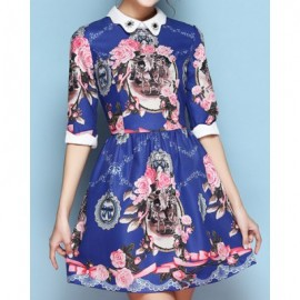 Vintage Peter Pan Collar Half Sleeves Floral Print Dress For Women