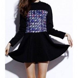 Vintage Round Collar Long Sleeves Print Splicing Dress For Women
