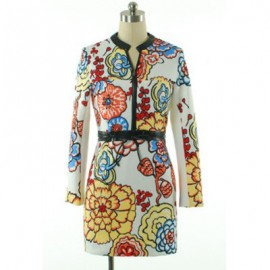 Vintage Round Collar Long Sleeves Printed Zippered Dress For Women