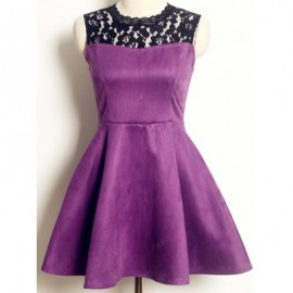 Vintage Round Collar Sleeveless Lace Splicing Dress For Women