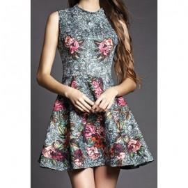 Vintage Round Collar Sleeveless Printed Dress For Women