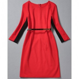 Vintage Round Neck 3/4 Sleeves Color Splicing Dress For Women
