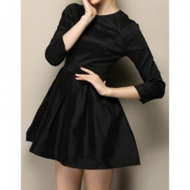 Vintage Round Neck 3/4 Sleeves Solid Color Dress For Women