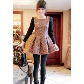 Vintage Round Neck Embroidery Pattern Cable Knitted Long Sleeve Splice Narrow Waist Fleece Women's Dress