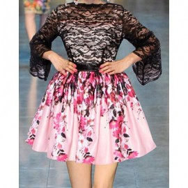 Vintage Round Neck Flare Sleeves Lace Splicing Floral Print Dress For Women