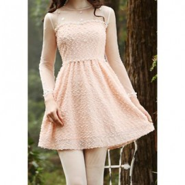 Vintage Round Neck Long Sleeves Voile Splicing Beaded Dress For Women