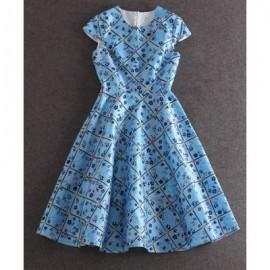 Vintage Round Neck Short Sleeve Flower Pattern Women's Dress