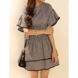 Vintage Round Neck Short Sleeve Plaid Spliced Women's Dress