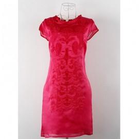 Vintage Round Neck Short Sleeves Solid Color Dress For Women