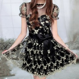 Vintage Round Neck Short Sleeves Voile Splicing Lace Dress For Women