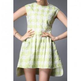 Vintage Round Neck Sleeveless Asymmetrical Pocket Design Women's Dress