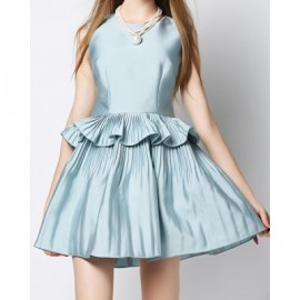 Vintage Round Neck Sleeveless Flounced Solid Color Women's Dress