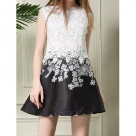 Vintage Round Neck Sleeveless Flower Pattern Spliced Women's Dress