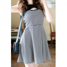 Vintage Round Neck Sleeveless Hollow Out Striped Splicing Dress For Women