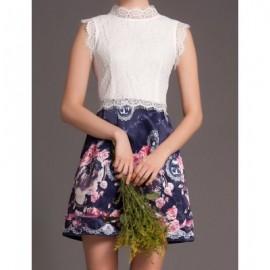 Vintage Ruff Collar Sleeveless Spliced Printed Women's Dress