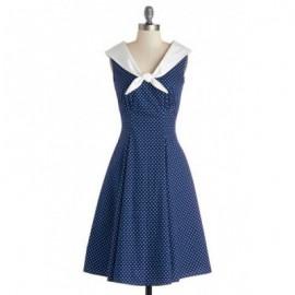 Vintage Sailor Collar Sleeveless Polka Dot Dress For Women