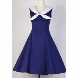 Vintage Sailor Collar Solid Color Sleeveless Pleated Dress For Women