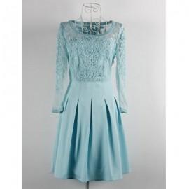 Vintage Scoop Neck 3/4 Sleeves Applique Solid Color Dress For Women