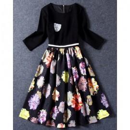 Vintage Scoop Neck 3/4 Sleeves Floral Printed Dress For Women