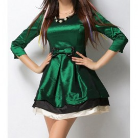 Vintage Scoop Neck 3/4 Sleeves Multi-Layer Bowknot Dress For Women