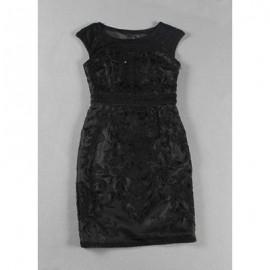 Vintage Scoop Neck Embroidered Solid Color Dress For Women