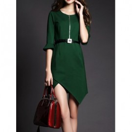 Vintage Scoop Neck Flare Sleeves Zippered Solid Color Dress For Women