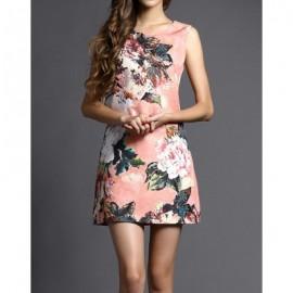 Vintage Scoop Neck Flowers Printed Sleeveless Dress For Women