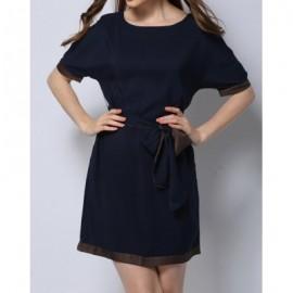Vintage Scoop Neck Half Sleeve Spliced Women's Dress