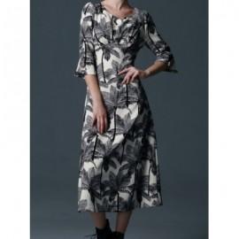 Vintage Scoop Neck Half Sleeves Tree Print Long Dress For Women