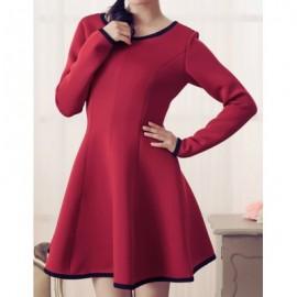 Vintage Scoop Neck Long Sleeves Color Splicing A-Line Dress For Women