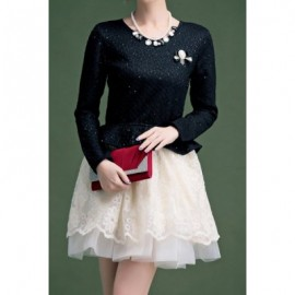 Vintage Scoop Neck Long Sleeves Flounce Lace Voile Splicing Dress For Women